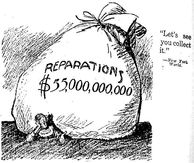 War Reparations lead Germany into massive debt. Money lost