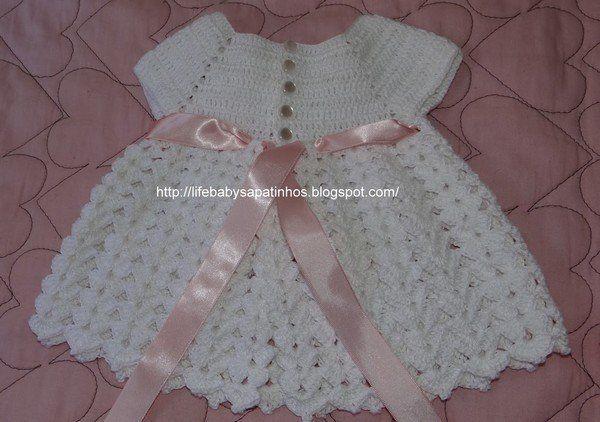 Grille crochet robe bebe 6 grille crochet robe bebe 6 pinterest crochet and layette - Robe bebe en crochet avec grille ...
