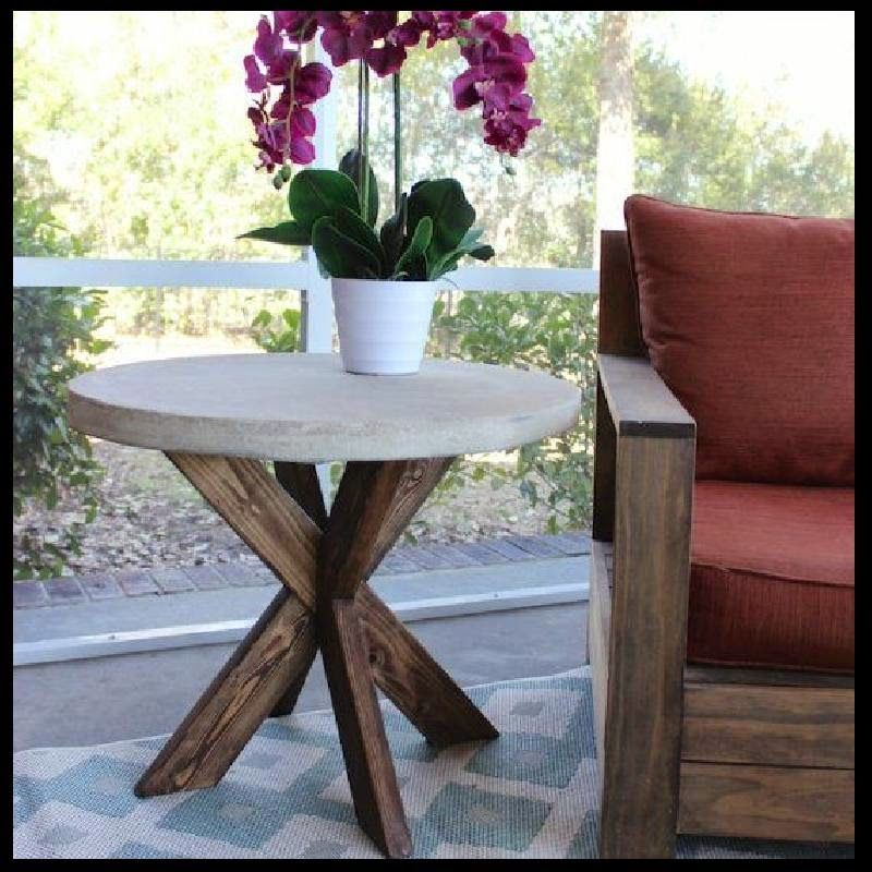 pin projects thrifty table diy outdoor concrete farmhouse decor home top patios chic patio and