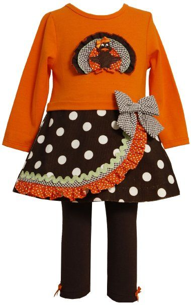 cd37c20c5e15c Amazon.com: Bonnie Jean Girls 2-6X Turkey Applique Legging Set: Clothing