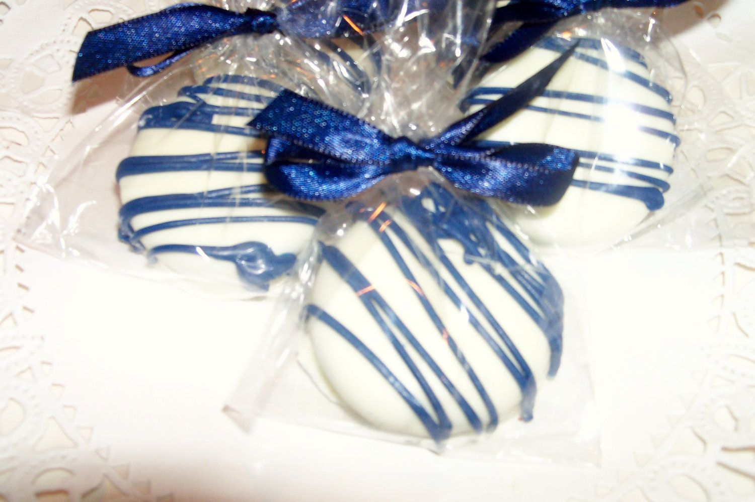 navy blue wedding shower white chocolate cookie drizzled with navy ...