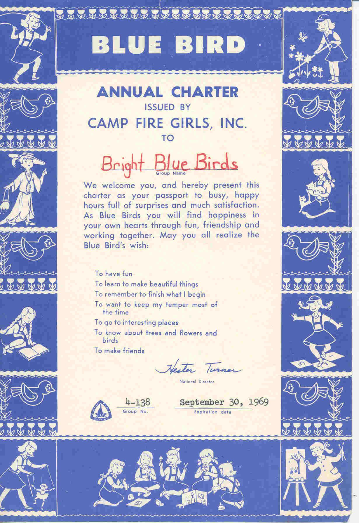 003 Charter Papers, Camp Fire Girls, Blue Birds 1960s Camp