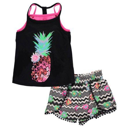 """Free Shipping. Buy Kidtopia Little Girls' """"Neon Pineapple"""" 2-Piece Outfit (Sizes 4 - 6X) at Walmart.com"""