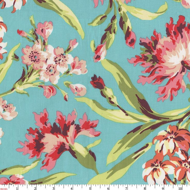 Coral and Teal Floral Fabric by the Yard | Coral Fabric | Carousel Designs