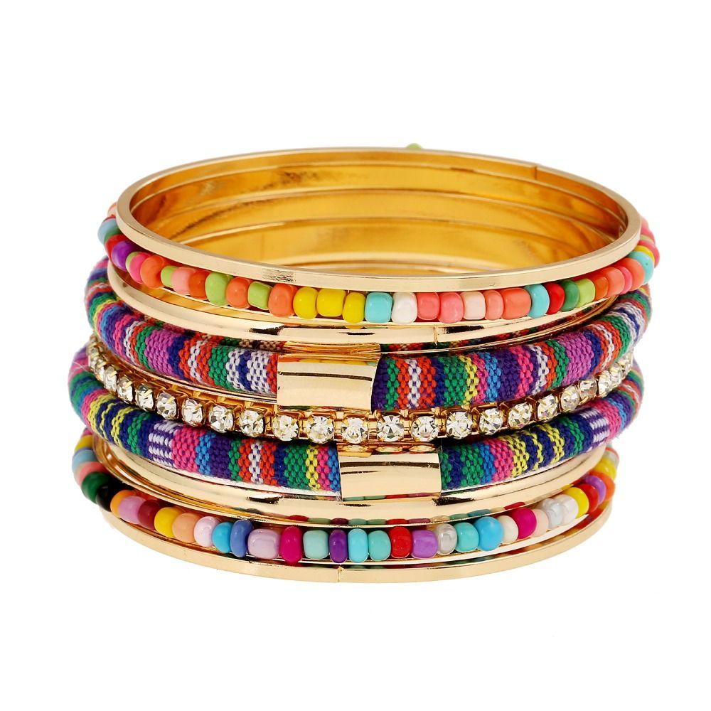 Women Boho Multi-layer Crystal Beaded Beads Bohemia Cuff Bracelets Set Bangle US