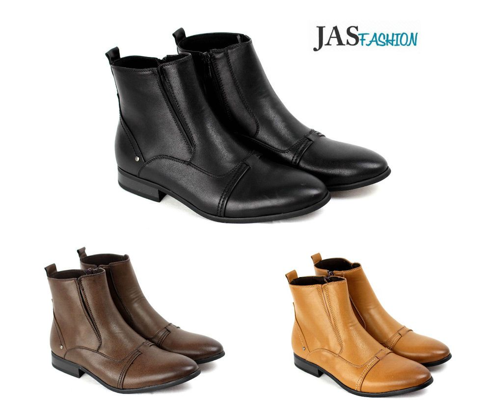 Mens casual chelsea smart zip ankle boots formal dress shoe size