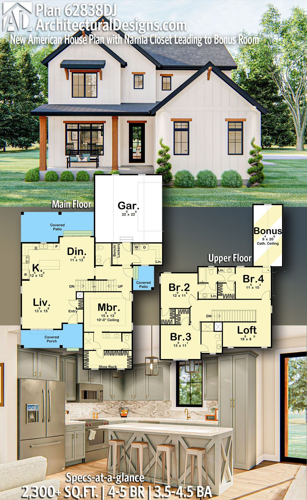 New American Farmhouse House Plan 62838DJ gives you 2,300 square feet of living space with 4-5 bedrooms and 3.5-4.5 baths. AD House Plan #62838DJ #adhouseplans #architecturaldesigns #houseplans #homeplans #floorplans #homeplan #floorplan #floorplans #houseplan