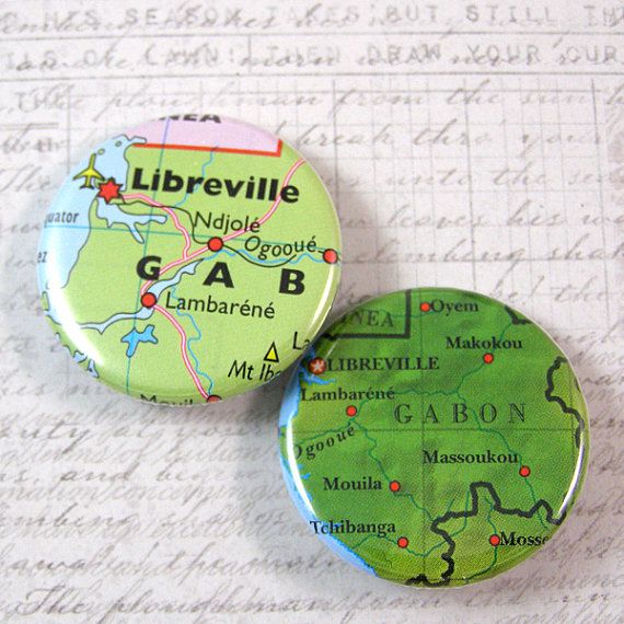 Gabon Map Pinback Button Set by XOHandworks Handmade in the USA