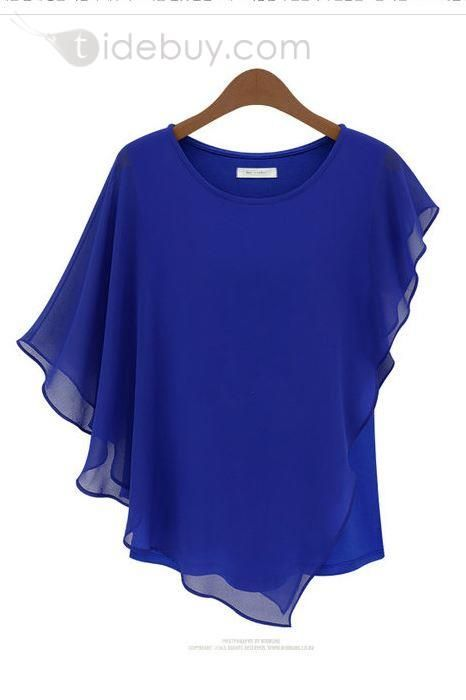 Plus Size Summer Chiffon Ruffles Bat Sleeve Blouse Solid Color Women Tops Cloth
