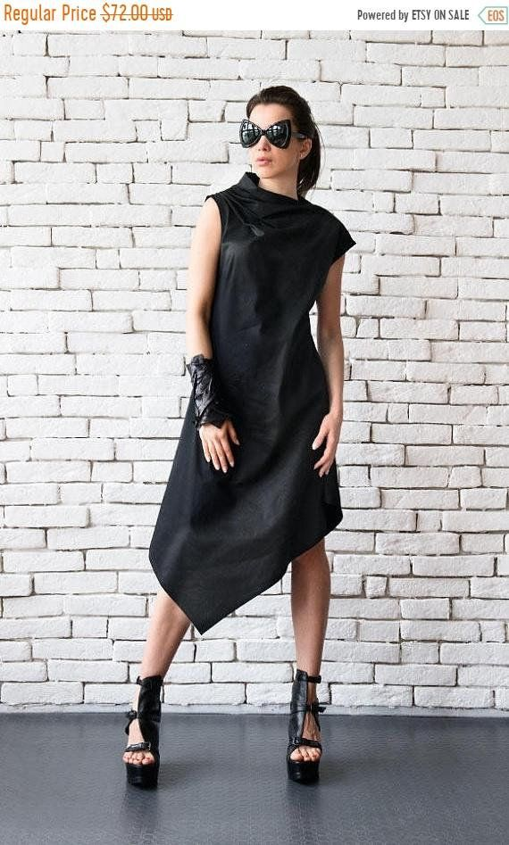 Lose schwarze Tunika Kleid/asymmetrische schwarze Kleid ...