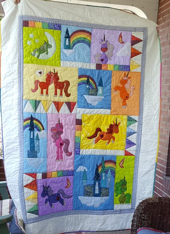 Unicorn Quilt Custom Order Only By Quiltedbysandra On Etsy