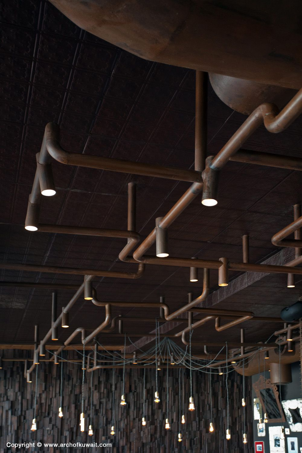 Lighting Grid As Pipes Cocoa Room Restaurant Kuwait