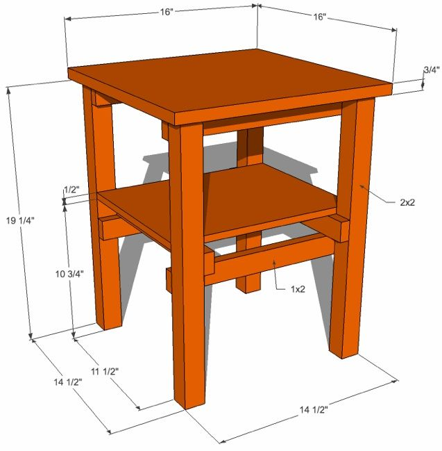dimensioned table drawing
