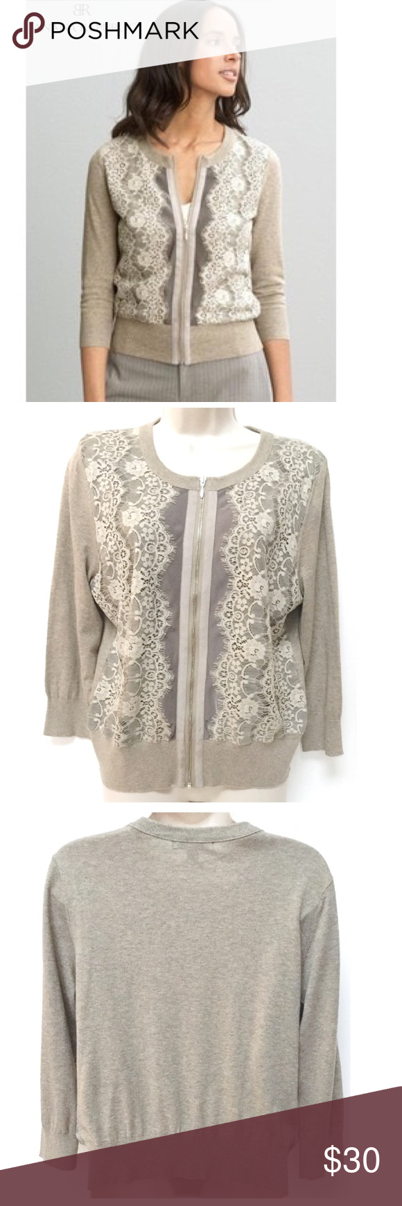 9d7fd6a43e Banana Republic Lace Front Zip Cardigan Banana Republic Zip Up Cardigan Lace  Front Detailing Solid back