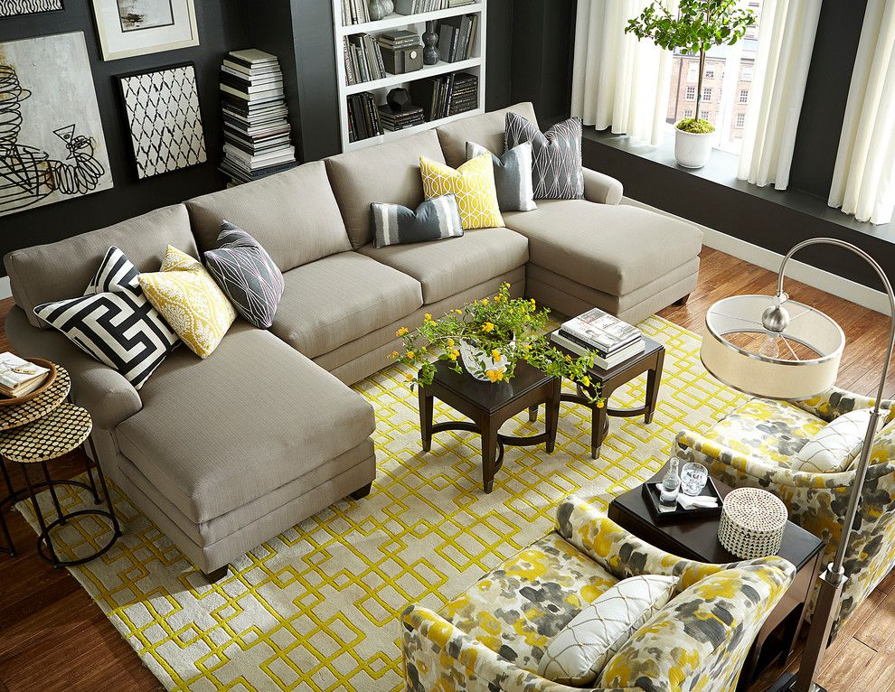 Charming Double Chaise Sectional in Contemporary Living ...