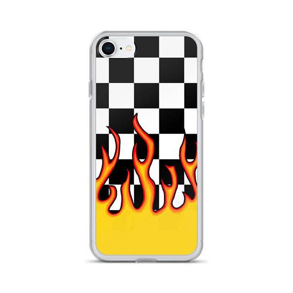 Checkerboard Black & White Flame iPhone 11 Case, iPhone XR