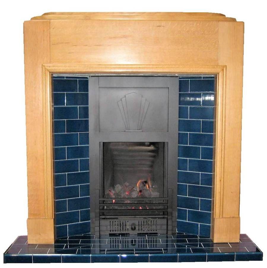 The odeon art deco oak mantel fireplace surround in