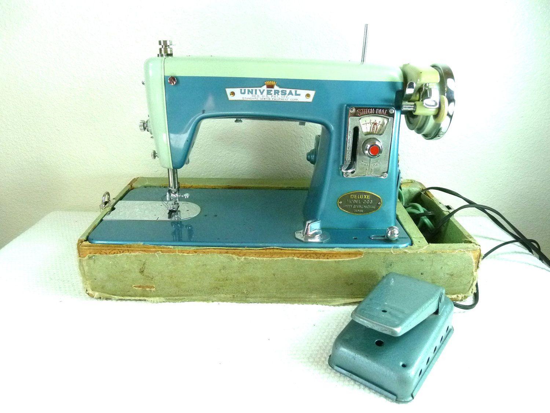 Vintage Blue 1950s Sewing Machine. $125.00, via Etsy.