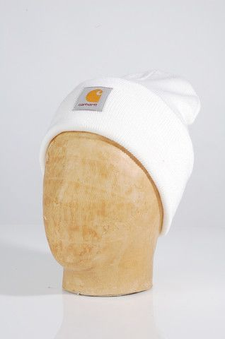 e84fbae6211 Carhartt Acrylic Watch Hat - COLOR  White - MATERIALS  100% Acrylic -  Stretch fabric knitted ribbed - Square label