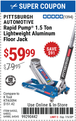 Pittsburgh 1 5 Ton Aluminum Rapid Pump Racing Floor Jack For 59 99 In 2020 Coupon Book Harbor Freight Tools Harbor Freight Coupon