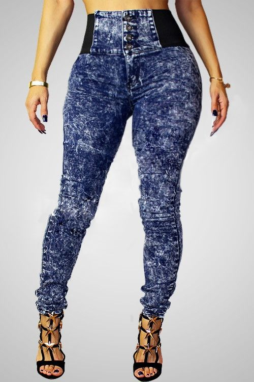 Fashion High Waist Button Fly Blue Denim Skinny Pants_Pants ...