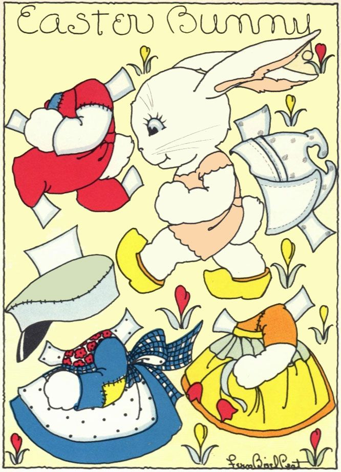 Easter-Fern-Bisel-Peat-Play-Mate - Easter Bunny paper doll with clothes via Q is for Quilter.