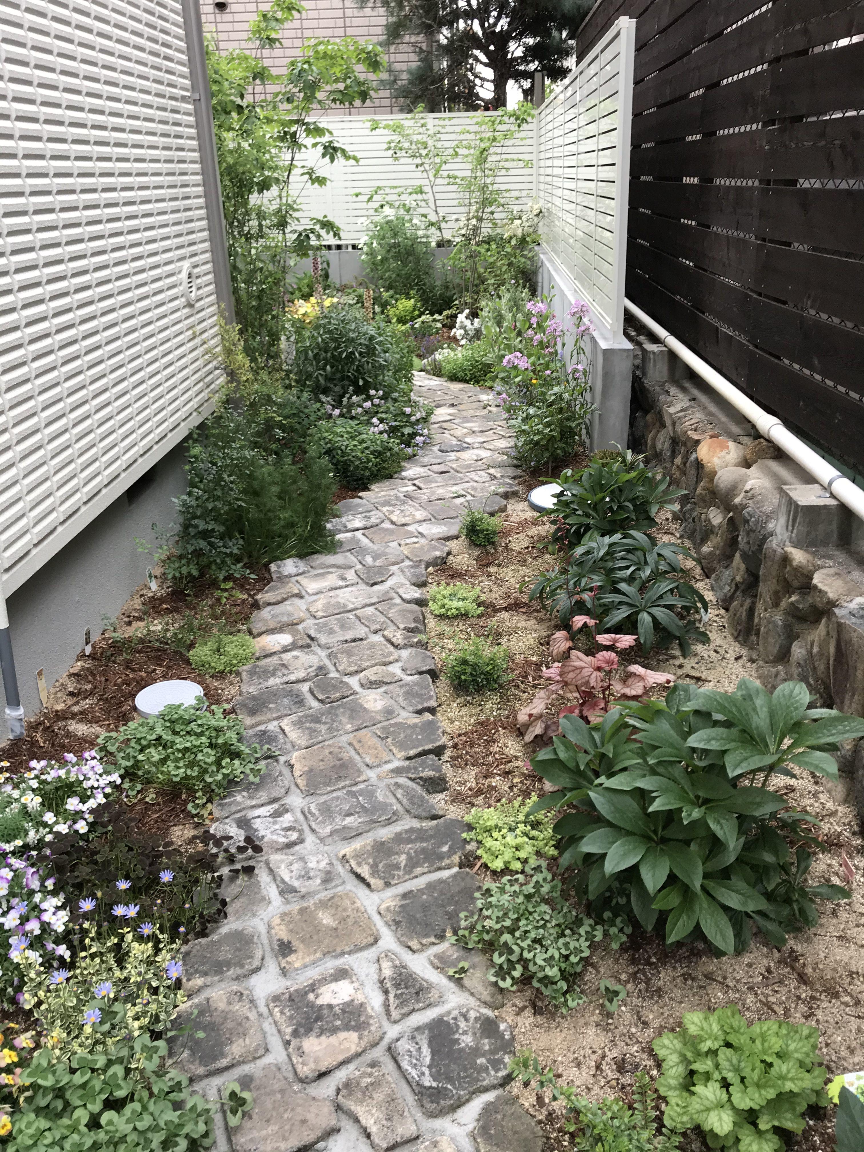 お花に囲まれた通路 ガーデニング 庭 庭 リフォーム