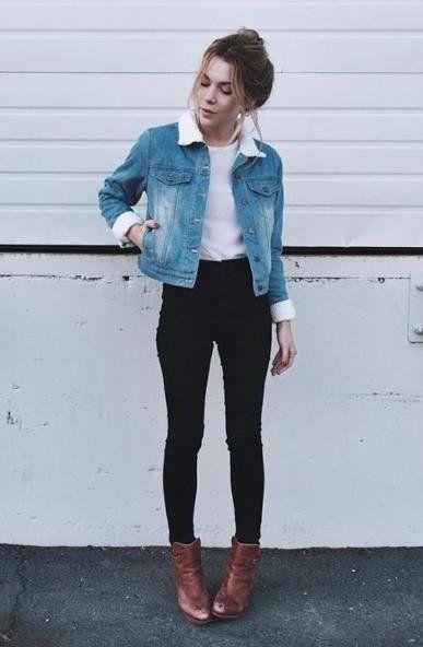 Denim jacket, black pants and brown boots