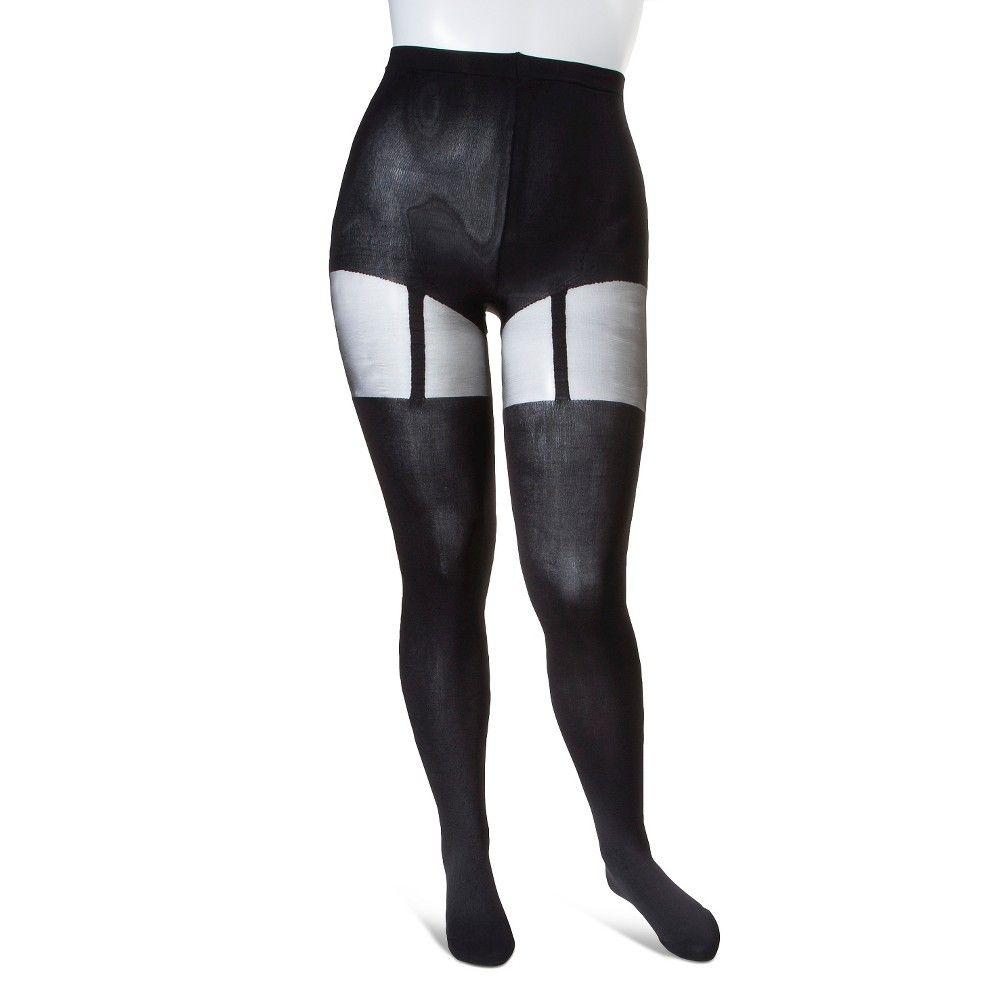 d2b1d747a378c Pretty Polly Curves Women's Plus-Size Suspender Tights - Black XL ...