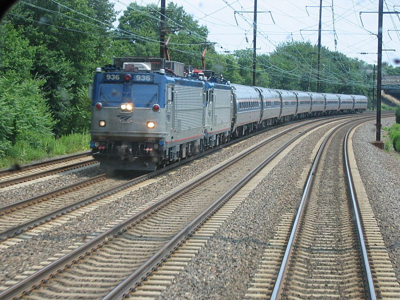 Amtrak Passenger Train with AEM-7 Electric Locomotives.