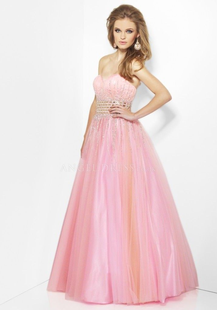 Ball Gown Empire Sweetheart Floor Length Tulle Pink Dress For Prom ...