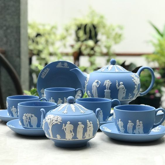 Vintage Blue Teaset By Wedgwood England