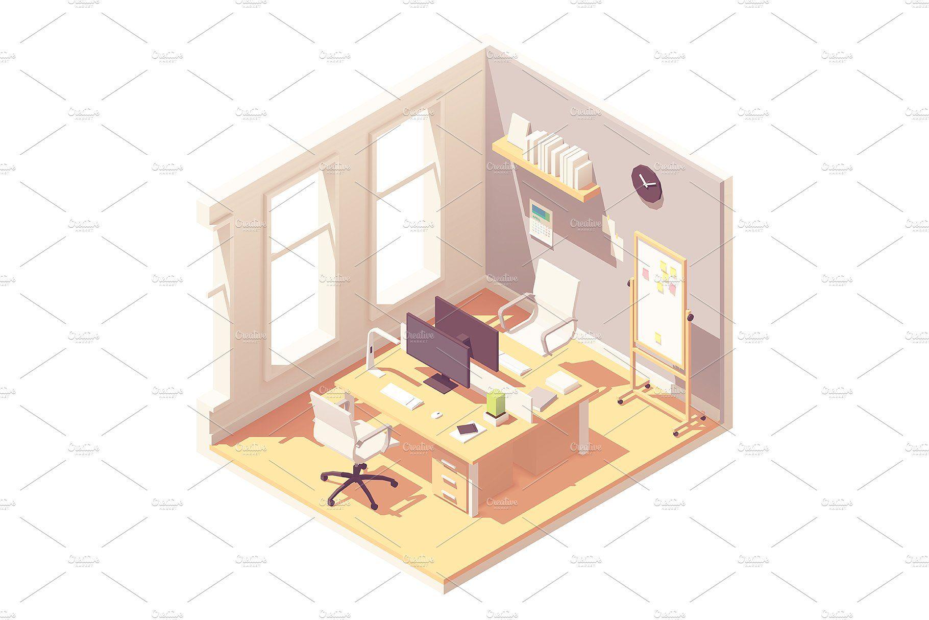 Vector isometric office interior executivepresentation