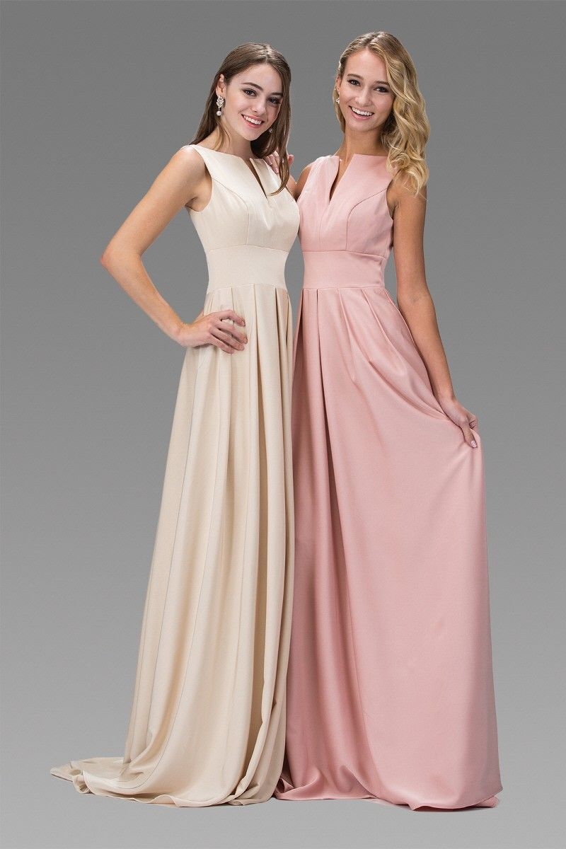This sleeveless satin dress from GLS is available in champagne and ...