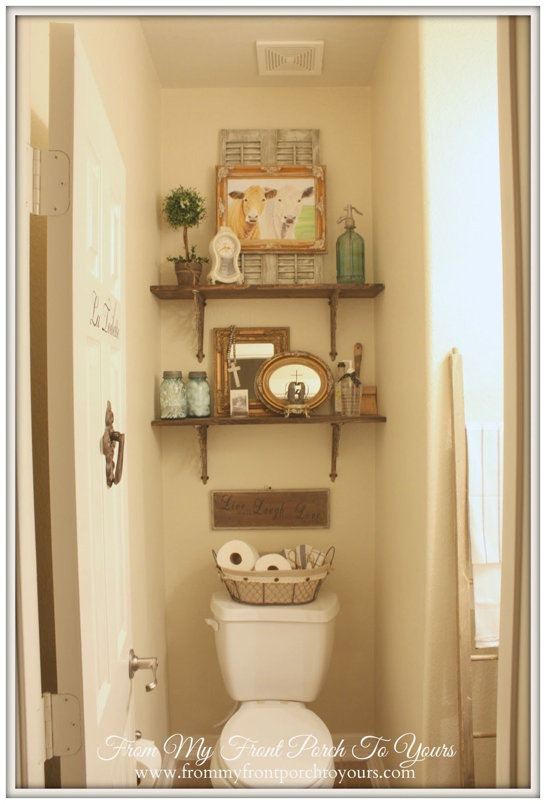 From My Front Porch to Yours - Home Tour | Shelves, Small bathroom ...