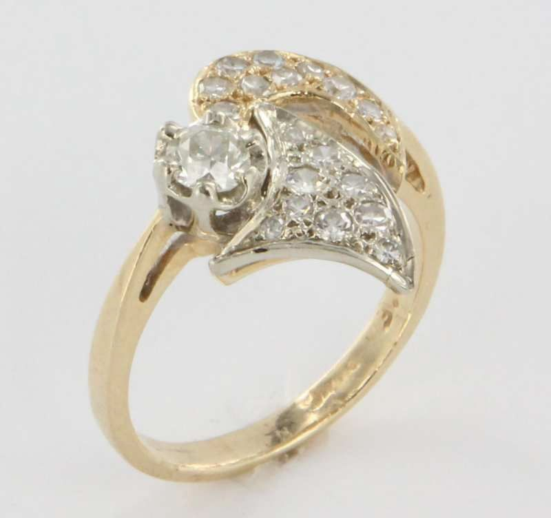 14 Karat Yellow Gold Diamond Cocktail Ring Fine Jewelry