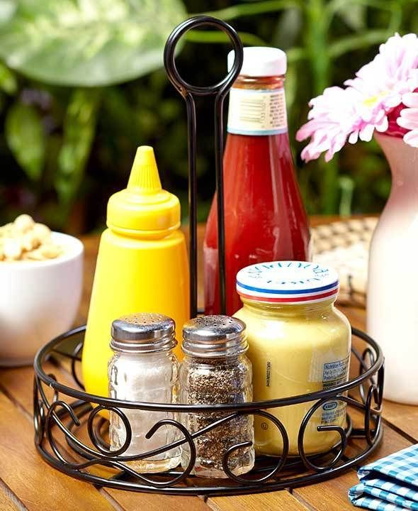 Black Scroll Tabletop Condiment Caddy   Condiment Holder   BBQ    Entertaining #CondimentCaddy