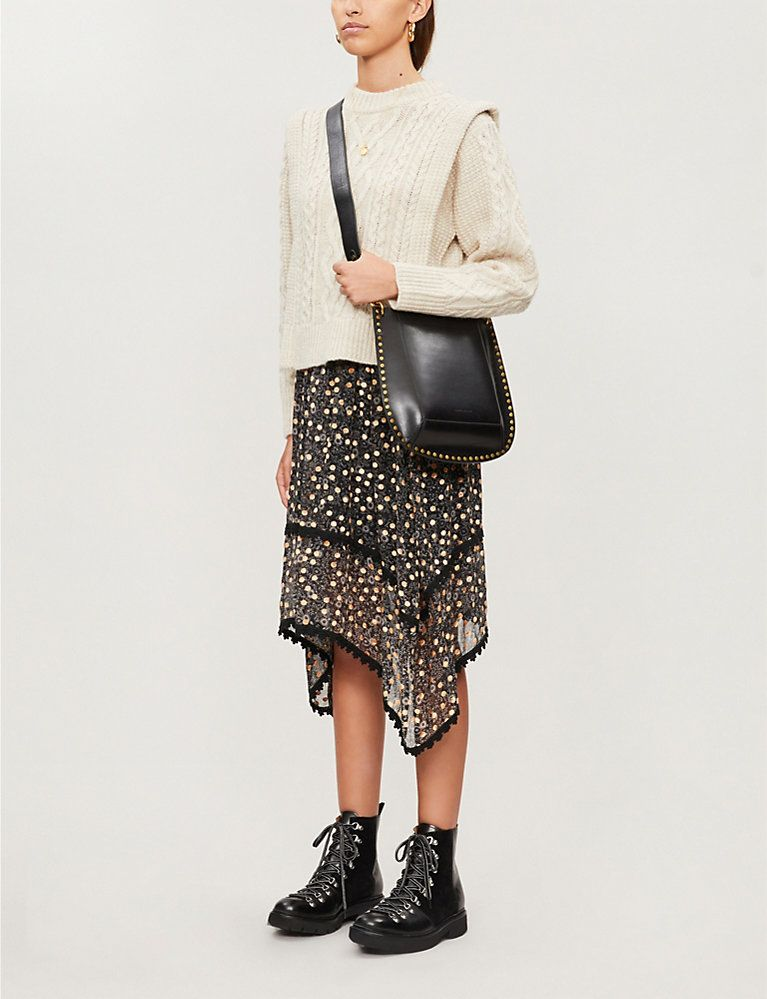 SEE BY CHLOE Floral-print silk midi skirt