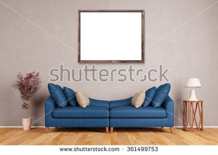 Empty Picture Frame On Wall Over Sofa In A Living Room (3D Rendering)