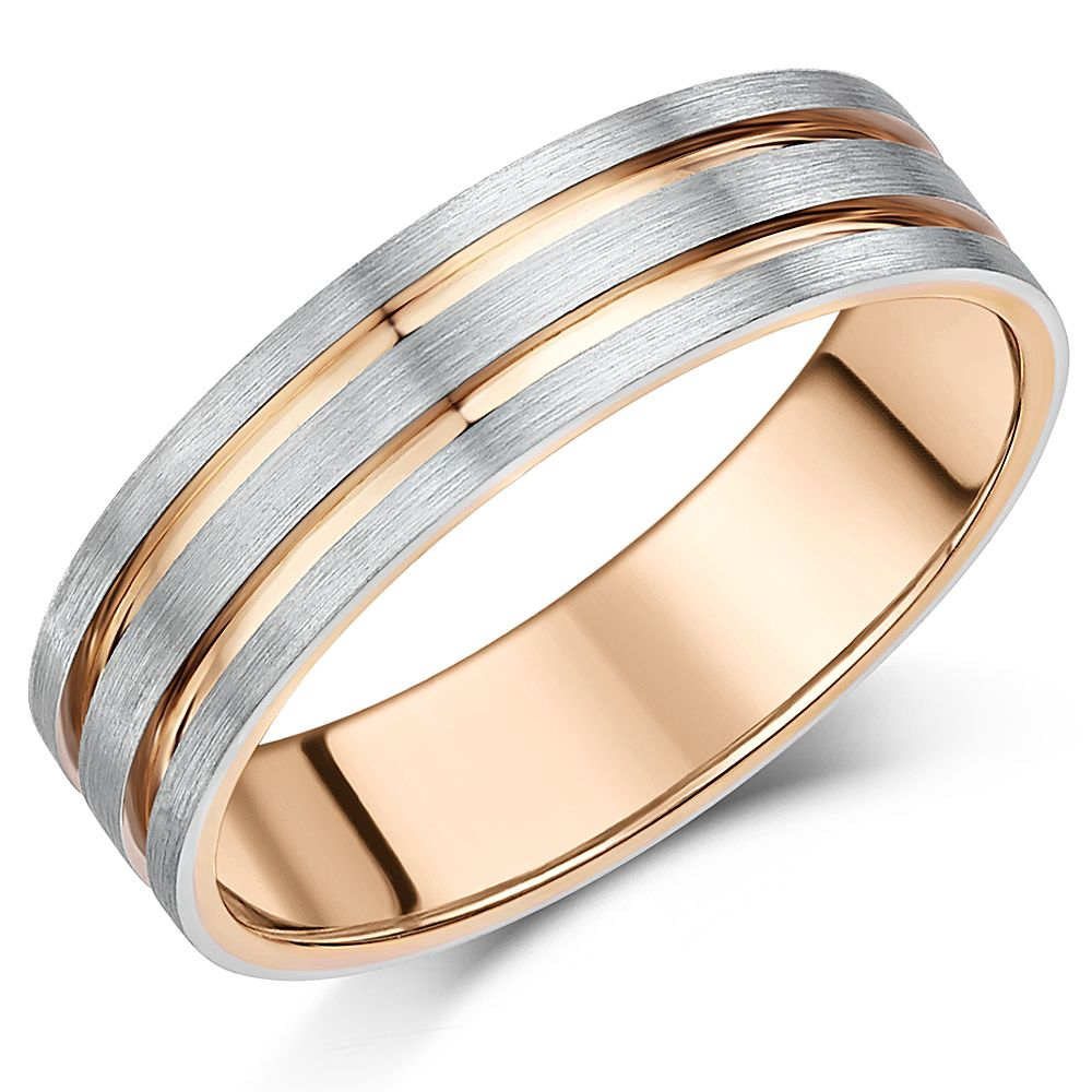 6mm Men's Palladium 950 and 9ct Rose Gold 6mm Two Tone