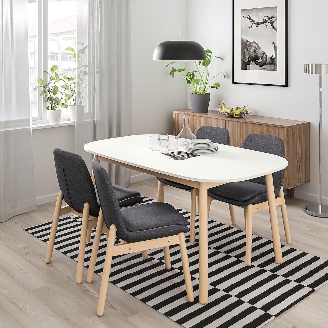 VEDBO Dining table - white - IKEA  Dining table design, Four