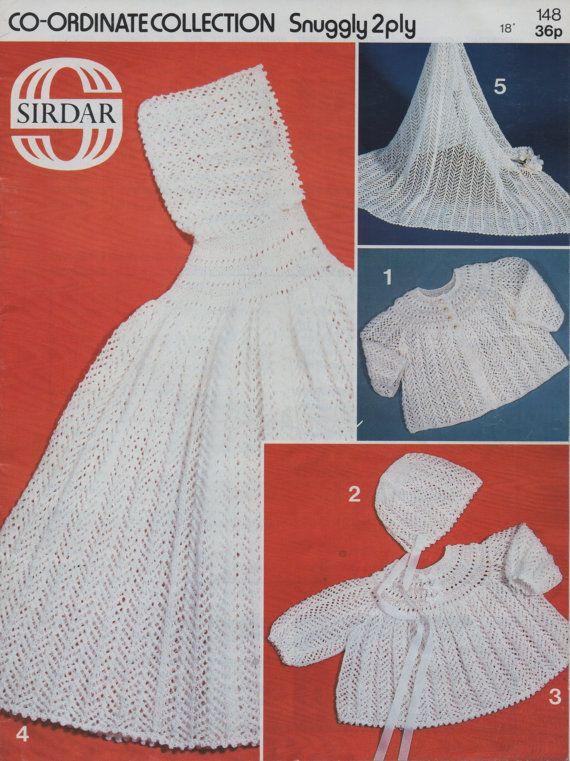 2c17e395e Baby layette knitting pattern pdf 2ply Christening Baptism square ...