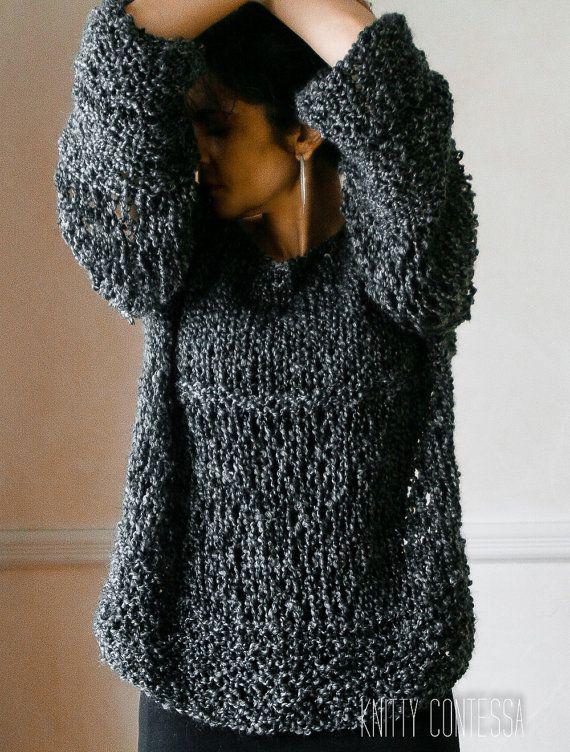 2415971fa32e2c Hand Knit Boyfriend Sweater Chunky Knit Sweater Charcoal Grey Knit Sweater  Oversized Sweater