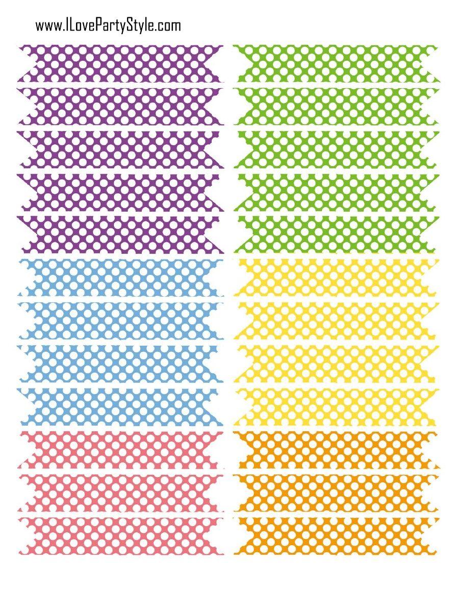 FREE printable polka dot DIY straw flags  FREE PRINTABLES  and