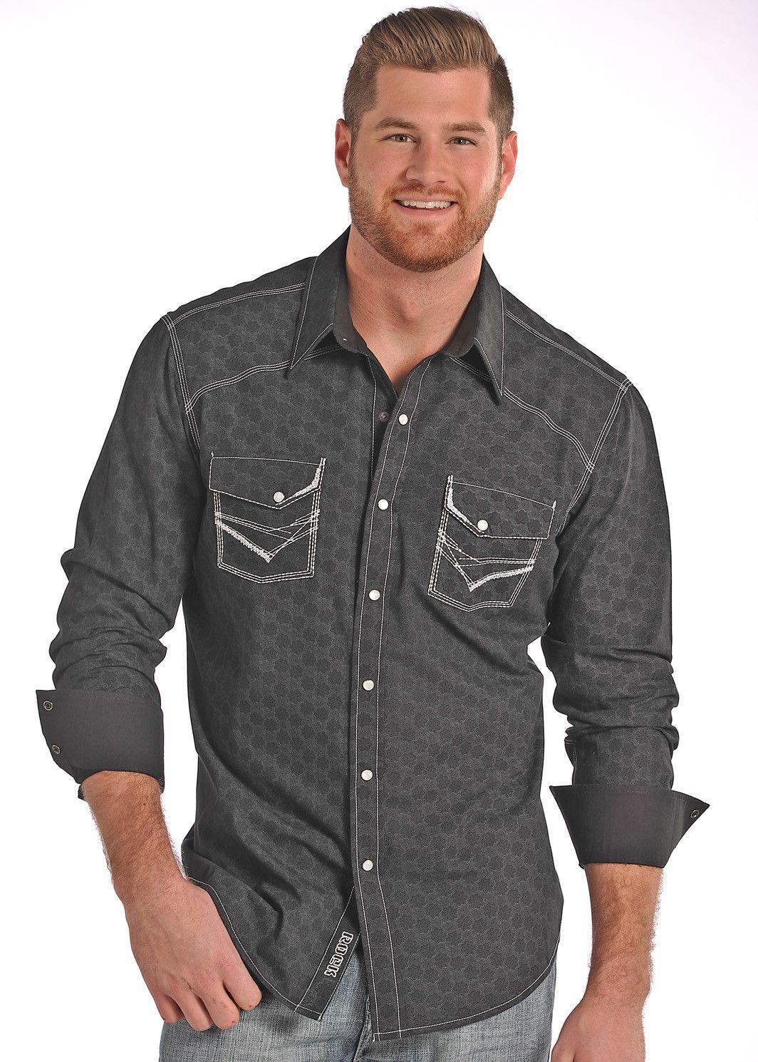 78a87941 Rock & Roll Cowboy Men's Long Sleeve Poplin Print Snap Up Dress Shirt  B2S4440