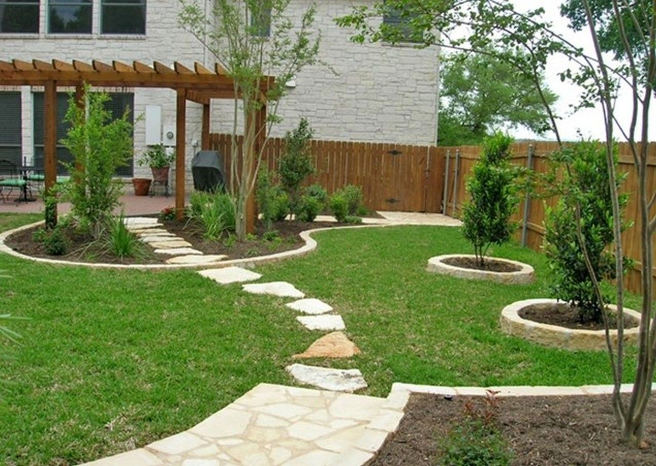 Like The Flagstone Path Through The Landscape.Backyard Lawn Backyard  Landscaping Design My Yard Austin, TX