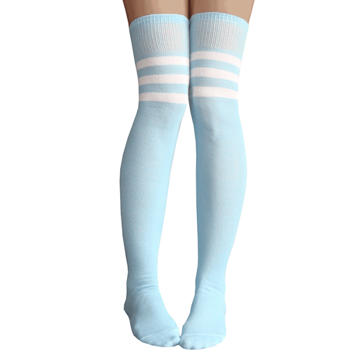 Baby Blue Thigh Highs Thigh High Socks Striped Thigh High Socks Knee High Socks Outfit