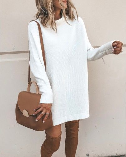 Sweater dress, fall style otk boots white tunic sweater dress #falloutfit #fallcasualdress #allwhiteclothes