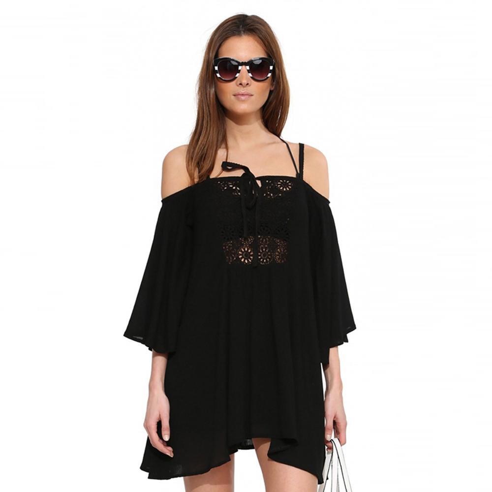 Fashion mini dress women solid white black lace sexy offshoulder