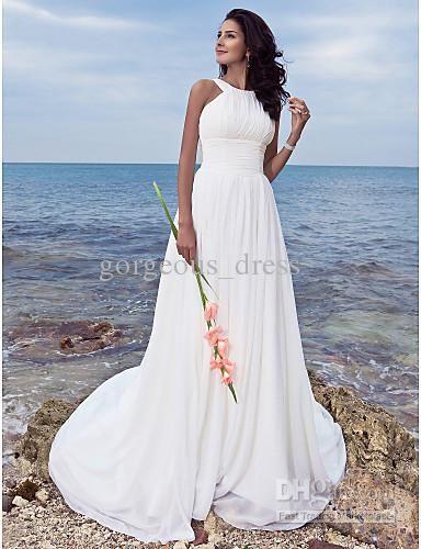 Wholesale Simple Style Halter Beach Wedding Dresses Long Chiffon Bridal Ruffle Floor Length Back